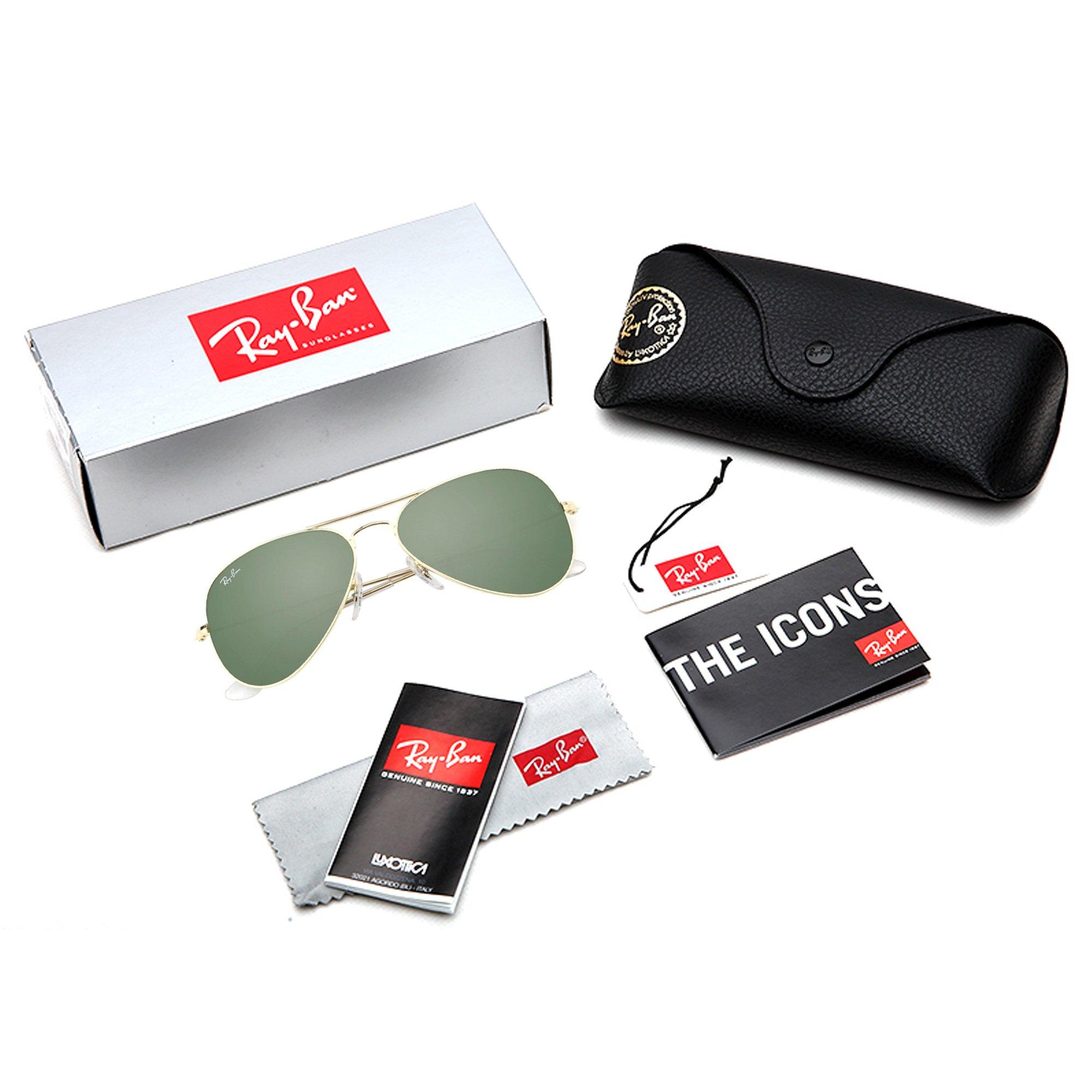 829f7ce6bb5 Ray-Ban Men s Aviator 3025 Sunglasses Gold Frame Green G-15xlt Lens- 55mm -  RB3025-W3234   Fishing Apparel   Sports   Outdoors - tibs