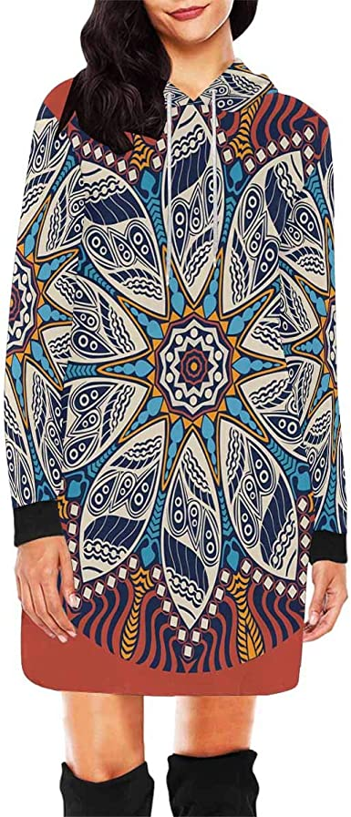 XS-XL INTERESTPRINT Womens Crew Neck Sweatshirt Abstract Snowflakes Casual Pullover Tops