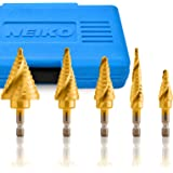 Neiko 10173A Quick Change SAE Spiral Grooved Step Drill Bit Set   5-Piece Set with total 50 Step Sizes   High-Speed Steel and