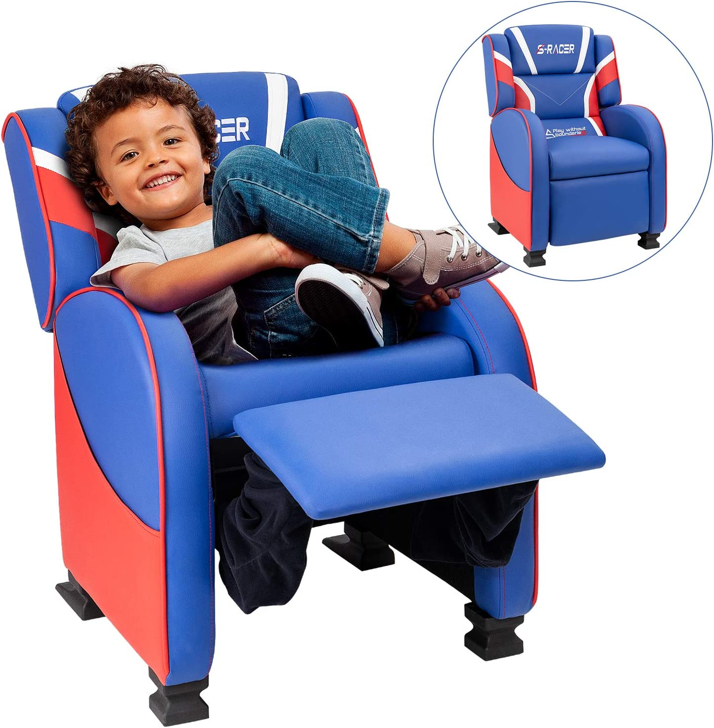 Homall Kids Recliner Chair, Lounge Furniture for Boys & Girls PU Leather Single Living Bed Room Chair Children Sofa (Blue)