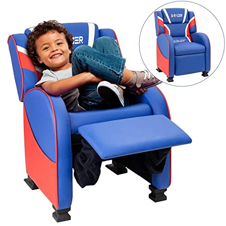 Astounding Homall Kids Recliner Chair Lounge Furniture For Boys Girls Pu Leather Single Living Bed Room Chair Children Sofa Blue Pabps2019 Chair Design Images Pabps2019Com