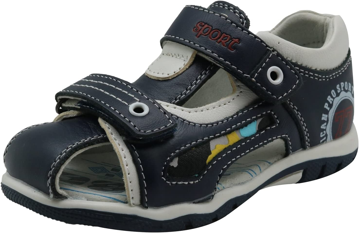 Toddler//Little Kid//Big Color : Navy//White332 , Size : 9 M US Toddler XM-Childrens shoes Non-Slip Boys Double Adjustable Strap Closed-Toe Leather Sandals Durable