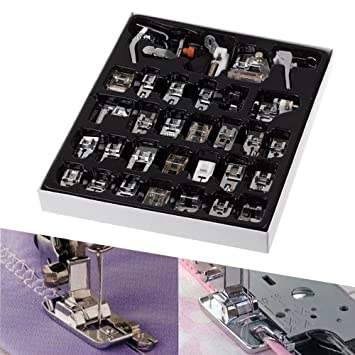 exsart 32 piezas para máquina de coser pie prensatelas para maquina de coser Presser juego de pies para Janome Brother cantante: Amazon.es: Hogar