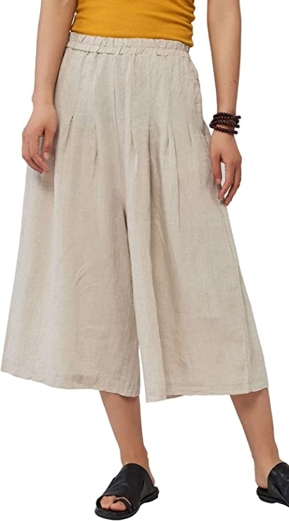 Cottagecore Clothing, Soft Aesthetic Les umes Womens 100% Linen Pleated Palazzo Bohemian Style Skirt Pant A Line Casual Culotte Elastic Waist Pull On Pants $39.98 AT vintagedancer.com