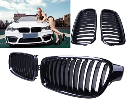 Tips4wise Gloss Black Front Kidney Grilles Grills For Bmw F30 3