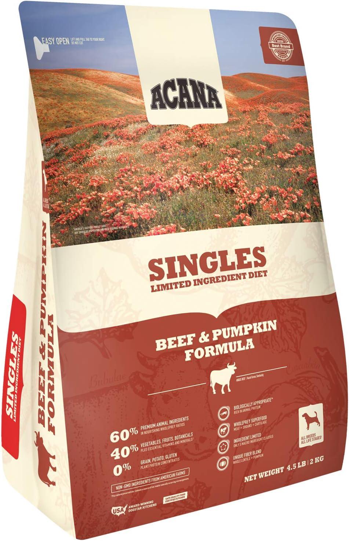 ACANA Singles Beef and Pumpkin Formula Dry Dog Food 4.5 Pounds