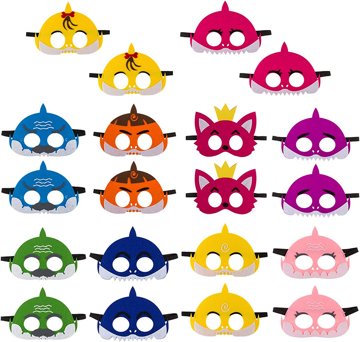20Pcs Little Shark Felt Mask Children's Birthday Party Family Party Cute Cartoon Soft Graduation Gift Boys Girls Parties Supplies Multicolor
