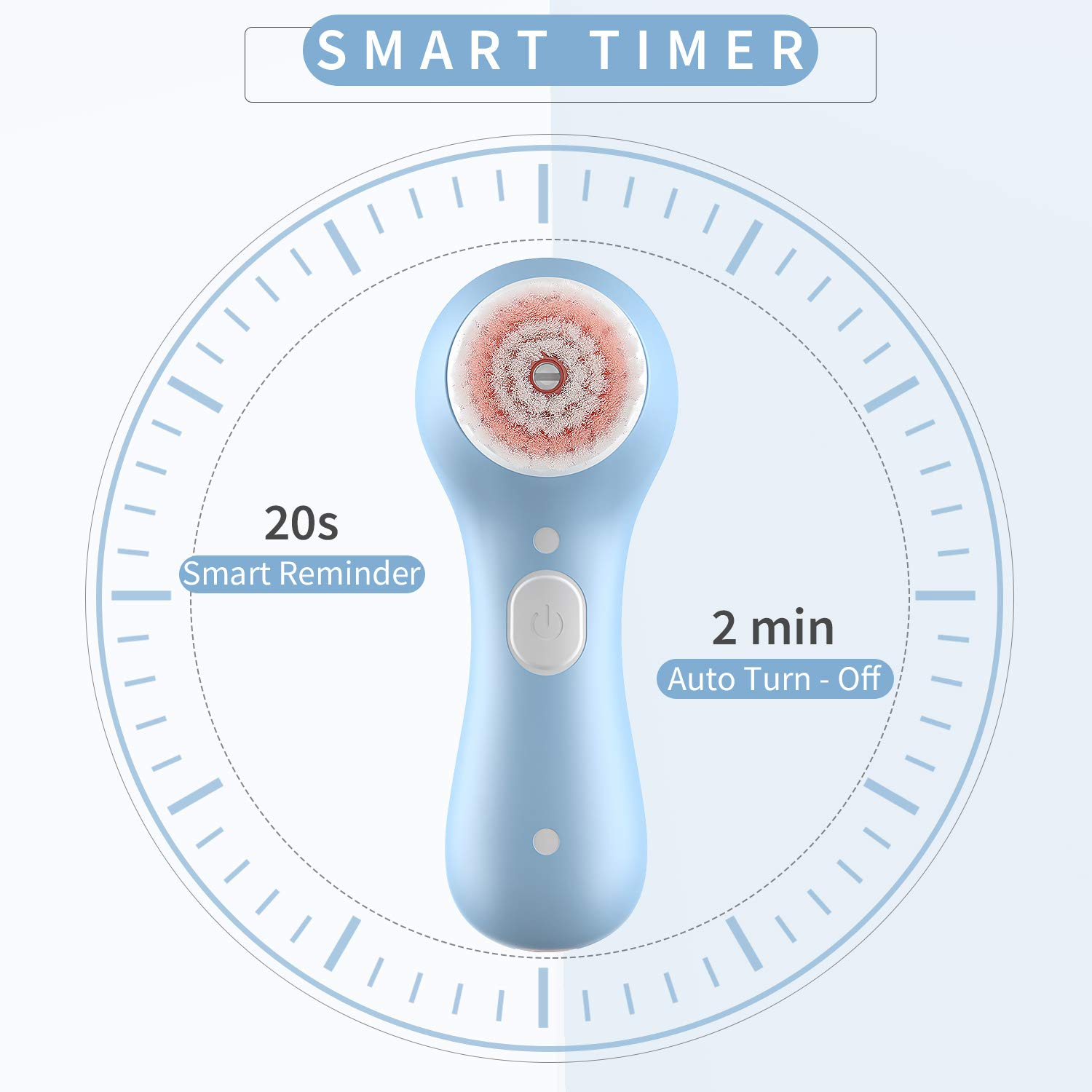 Facial Cleansing Brush, Waterproof Spin Face Brush with 2 Brush Heads (Blue)