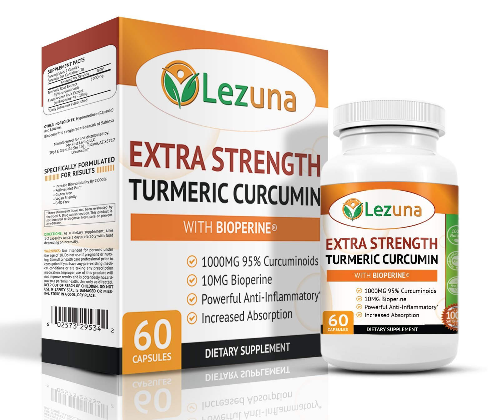 Lezuna Extra Strength Turmeric Curcumin with Bioperine, 1000mg 95% Curcuminoids, 10mg Bioperine, 2,000% Increase Bioavailability, Certified GMP Facility, Made In USA, 60 Capsules