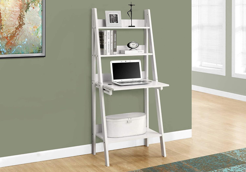 "Monarch Specialties I 7040 Ladder Desk-Bookcase-Wall Bookshelf-Stand Shelf, 61"" H"