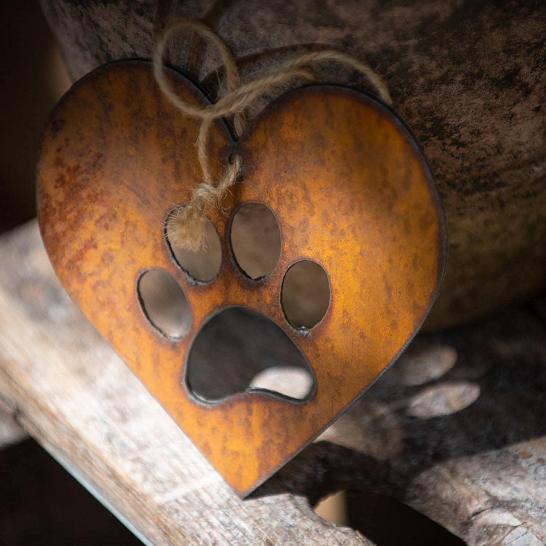 Rustic Rusted Paw Print Heart Garden Sign lingyagaofeng 2Pcs Paw Print Heart Vintage Rusty Metal Heart Garden Sculpture Ornament Metal Art