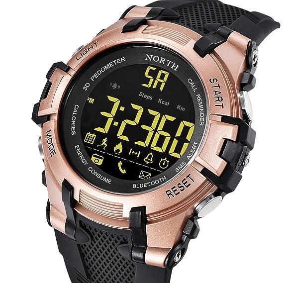 HWCOO Relojes de Pulsera North Reloj Inteligente a Prueba de Agua Bluetooth Foto Paso Reloj electrónico Llamada recordatorio Moda Deportiva Reloj de los ...