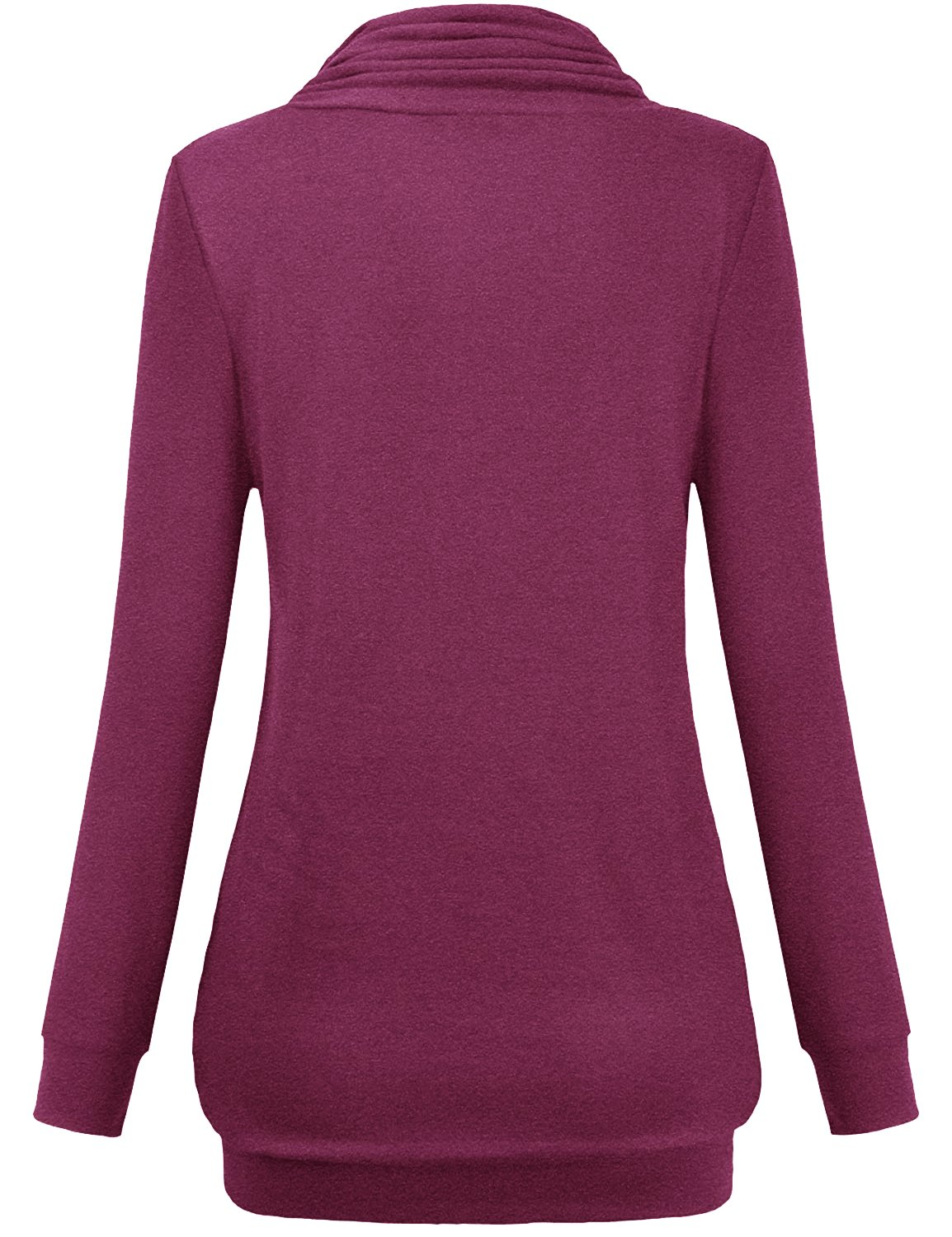 Hellmei Womens Nursing Tops, Ladies Petite Trendy Draped Prime Misses Shirt Long Sleeve Jersey Cotton Trapeze Cowl Neck Tunic A-Line Pleat Stretchy Business Casual Clothing Rose Red M by Hellmei (Image #3)