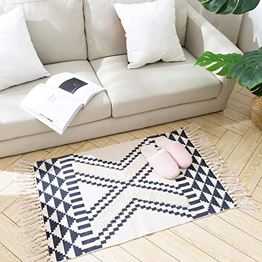 Amazon Com Tassels Bathroom Rug Morocco Kitchen Rug With Geometric Triangles 2 X3 Small Cute Throw Rug For Living Room Bedroom Laundry Navy Kitchen Dining
