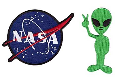 2 x Alien Cartoon Logo Nasa - Funny hierro en parche gran ...