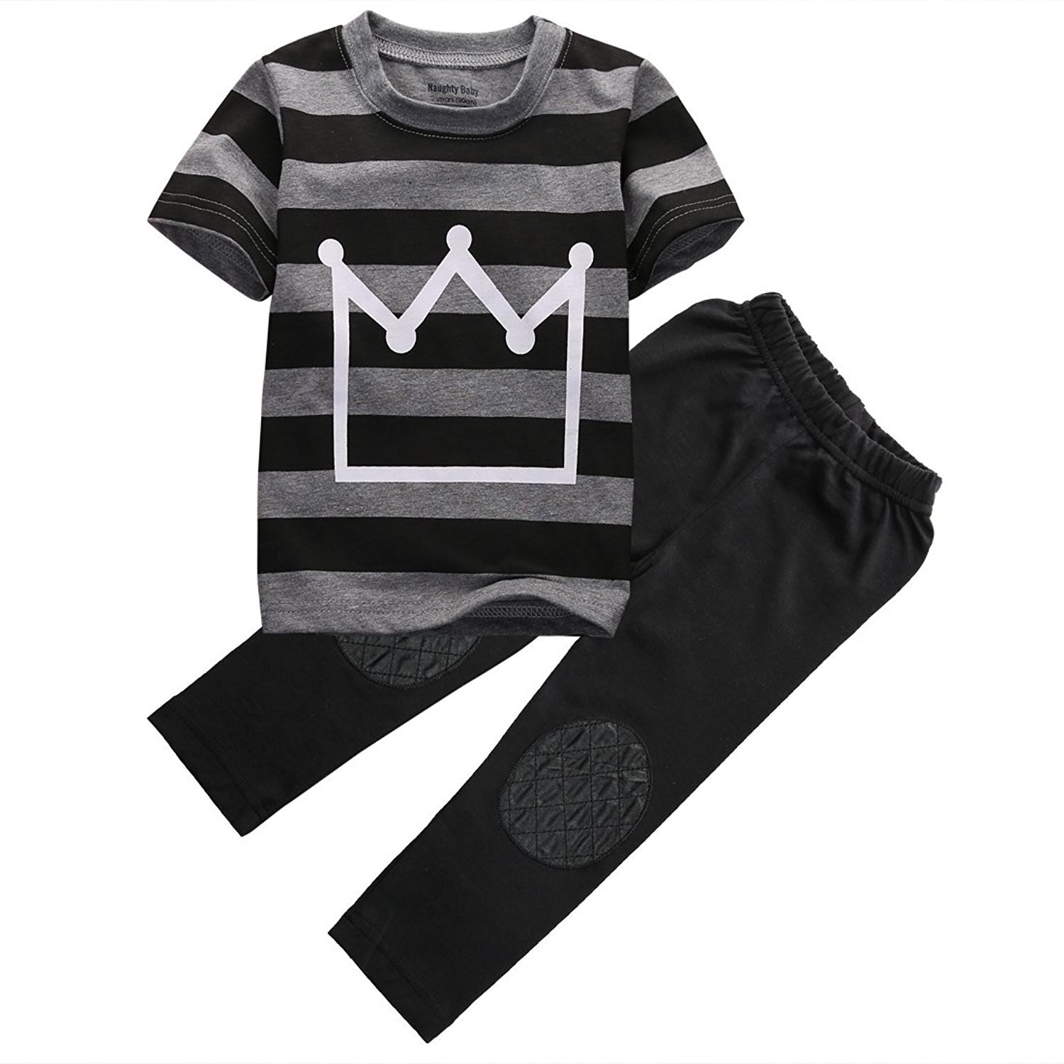 Happy Town 2pcs Little Boys Short Sleeve Striped Crown Print T-Shirt and Pants Outfit Summer Clothes