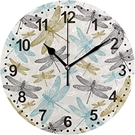 Amazon Com Dragonfly Decorative Wall Clock Non Ticking Silent Clocks For Indoor Kitchen Bedroom Living Room Home Kitchen