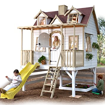 Green House - Casita de Madera para niños Sobre pilares con tobogán Super Baden