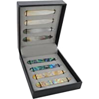 """COLLAR AND CUFFS LONDON - 8 Shirt Collar Stiffeners - 4 MOTHER OF PEARL DESIGNS, 2 SIZES - 2.2"""" 2.35"""" - Green Brown Gold and Black Colours - High Quality - With Luxury Presentation Gift Box - 4 pairs"""