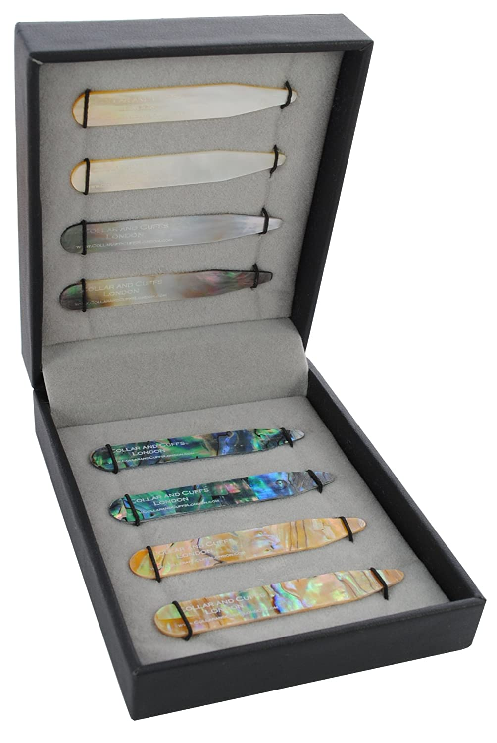 COLLAR AND CUFFS LONDON - 8 Shirt Collar Stiffeners - 4 MOTHER OF PEARL DESIGNS, 2 SIZES - 2.2 2.35 - Green Brown Gold and Black Colours - With Luxury Presentation Gift Box - 4 pairs COLLARANDCUFFSLONDON8SETS