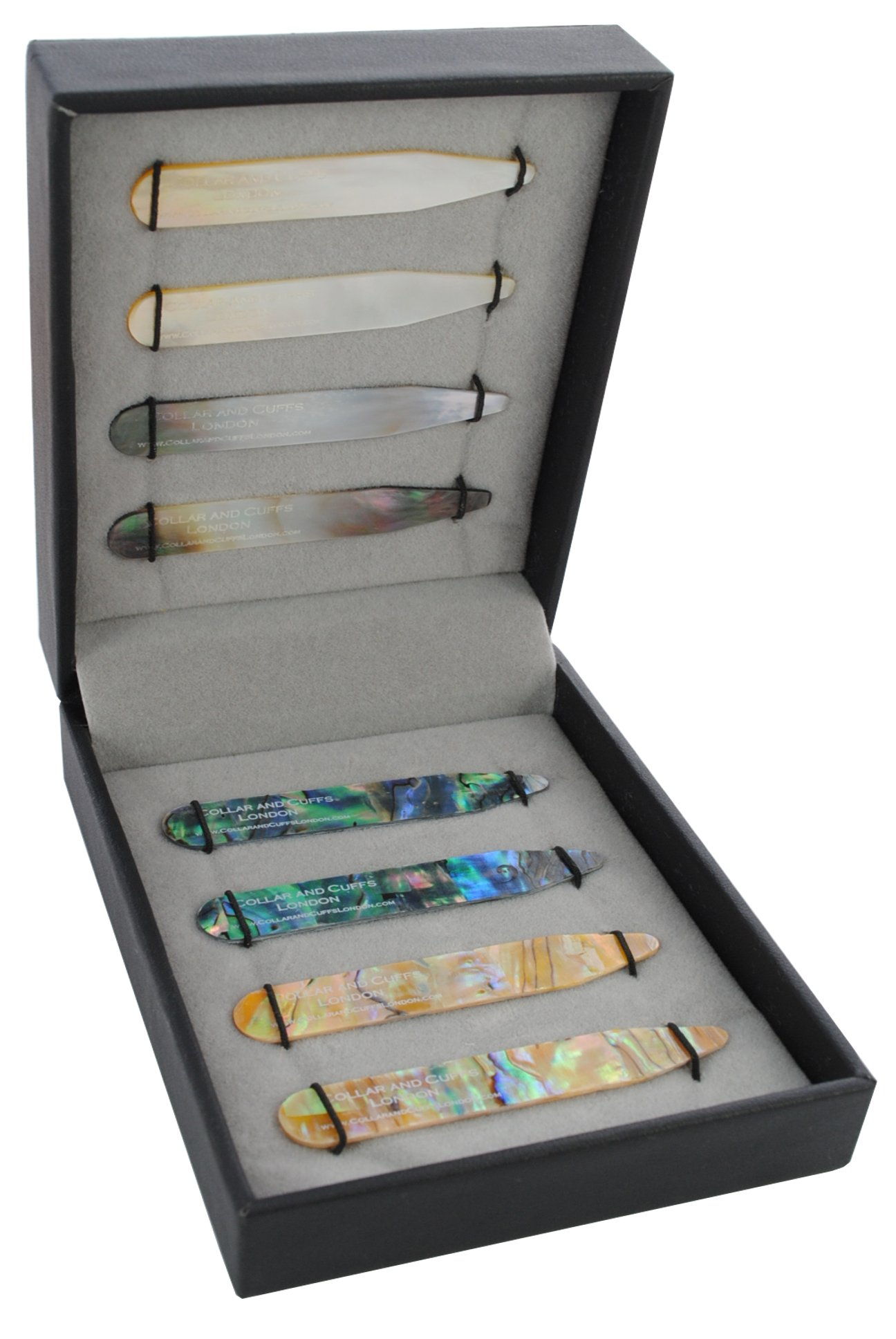 COLLAR AND CUFFS LONDON - 8 Shirt Collar Stiffeners - 4 MOTHER OF PEARL DESIGNS, 2 SIZES - 2.2'' 2.35'' - Green Brown Gold and Black Colours - With Luxury Presentation Gift Box - 4 pairs