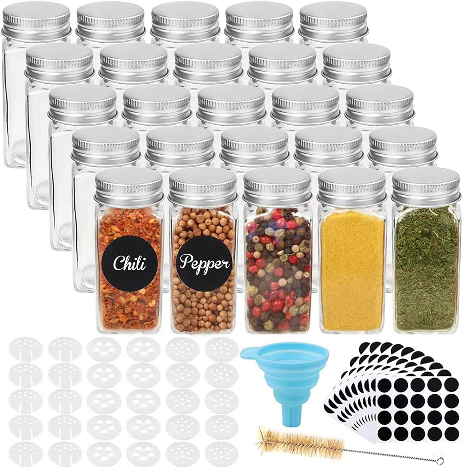 CUCUMI 25pcs 4oz Glass Spice Jars Spice Bottles, Square Empty Spice Containers with 30pcs Shaker Lids 200pcs Blank Waterproof Labels Silicone Collapsible Funnel Test Tube Brush