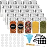 CUCUMI 25pcs 4oz Glass Spice Jars Square Empty Spice Containers with 30pcs Shaker Lids 200pcs Blank Round Waterproof…