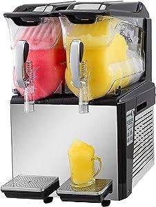 VBENLEM 110V Slushy Machine 20L Double Bowl Slush Frozen Drink Machine 600W Frozen Drink Maker Ice Slushies for Supermarkets Cafes Restaurants Snack Bars Commercial Use