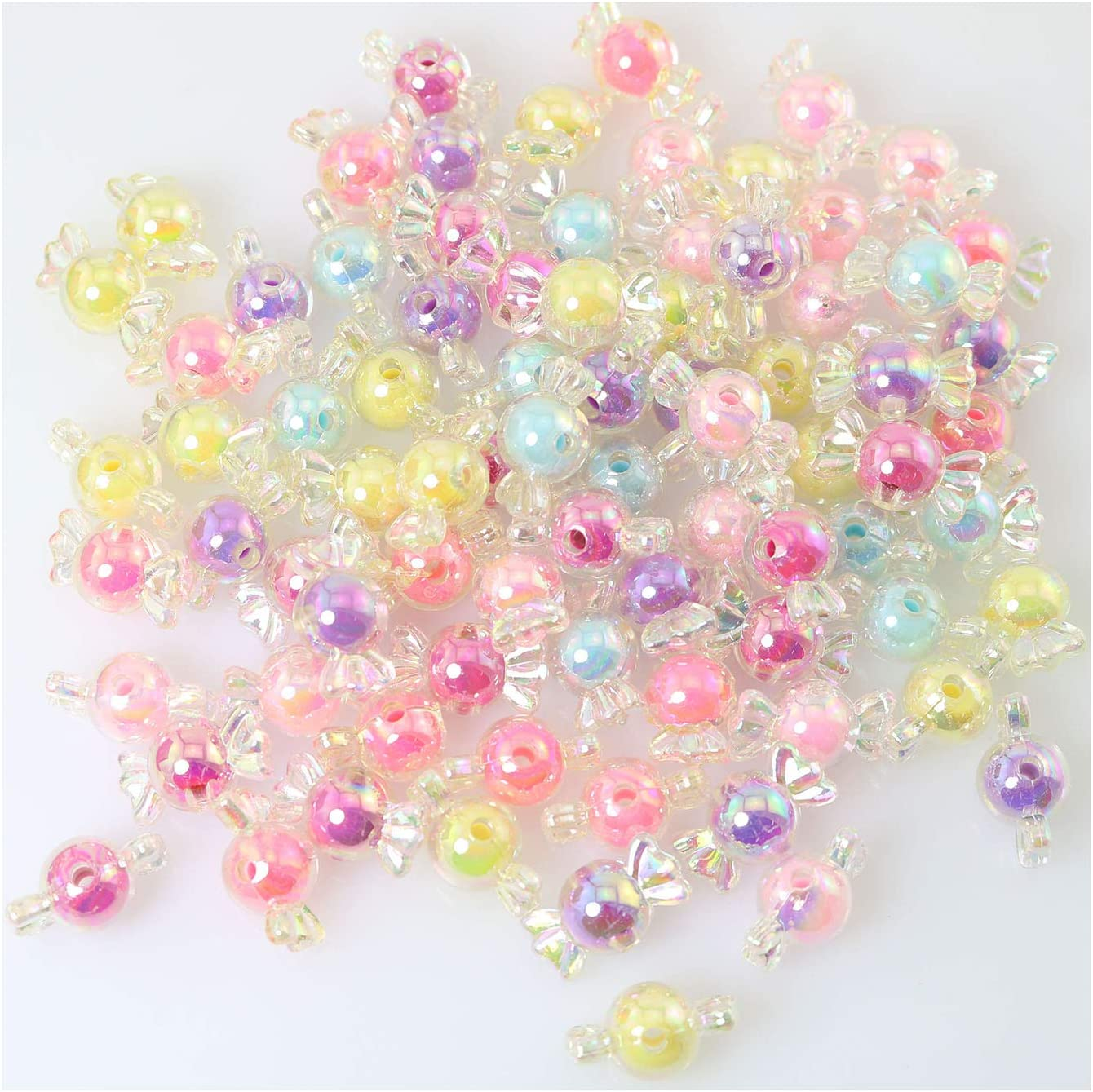 Tegg 80PCS Colorful Beautiful Candy Shaped Acrylic Charm Beads for Chain Bracelet Necklace Jewelry DIY Craft