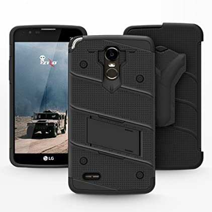 LG Stylo 3 Case, Zizo [Bolt Series] w/ [LG Stylo 3 Screen Protector]  Kickstand [12 ft  Military Grade Drop Tested] Holster Belt Clip- LG Stylo 3  Plus