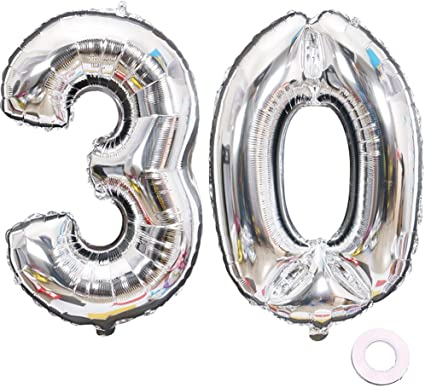"""30/"""" inch Large Foil Number BALLOONS Gold Silver Happy Birthday Ballons Party"""