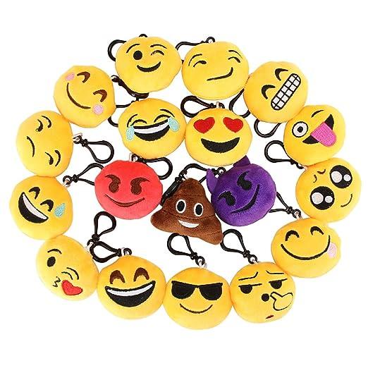 4 opinioni per 18 Portachiavi Emoji Pack, Mini Cute Emoji-Pop Peluche Bambole Portachiavi,