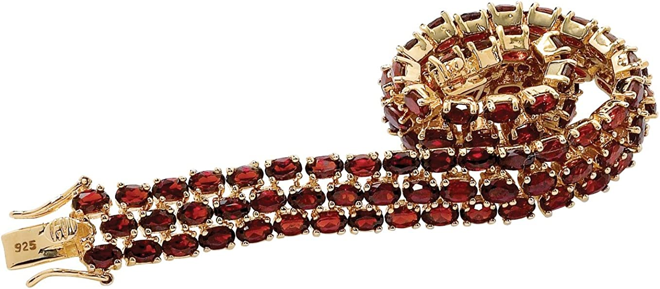 Tennis Bracelet 7.25 in Oval Shaped Genuine Red Garnet 14K Yellow Gold over Sterling Silver Hidden Box Clasp 11.5mm