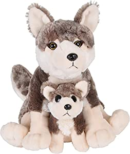 """Adventure Planet Birth of Life Wolf with Baby Plush Toy 12"""" H"""