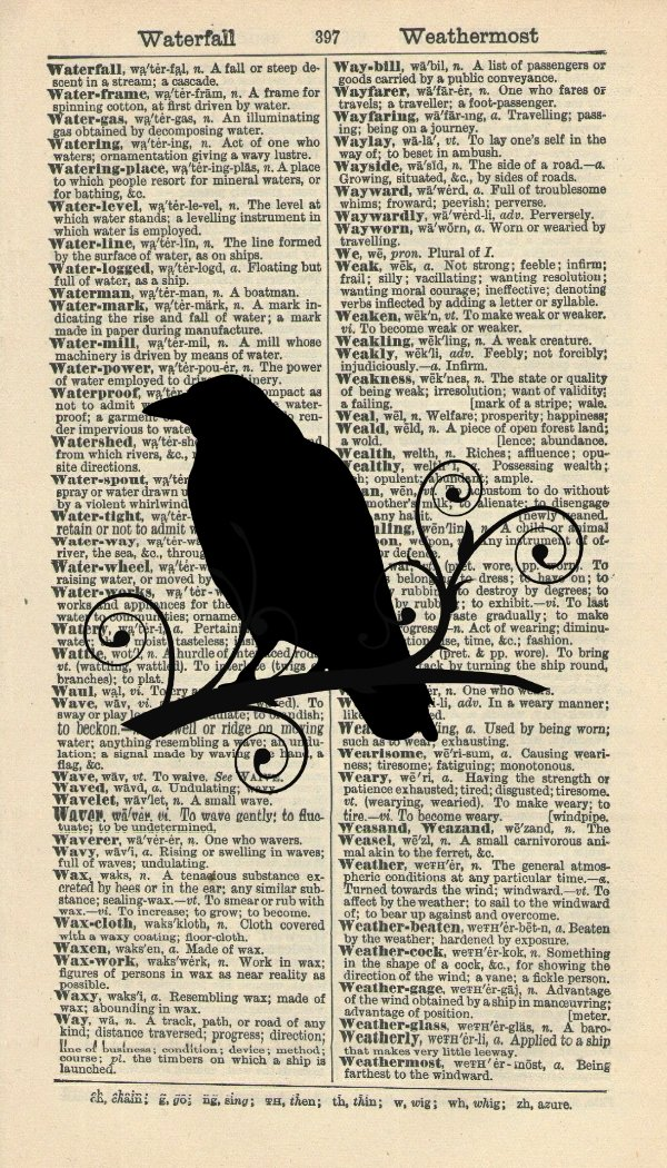 Bird Silhouette Art Print – Crow Art Print - Contemporary Art - Vintage Art Print - Vintage Dictionary Art Print – Bird Artwork – Wildlife Illustration - Wall Hanging - Book Print 580B