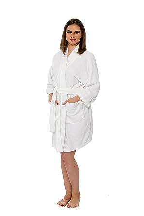 0ba51b18fd Bath   Robes Women s Short Knee Length Dressing Gown Cotton Chenille Kimono  Robe Nightwear Soft S