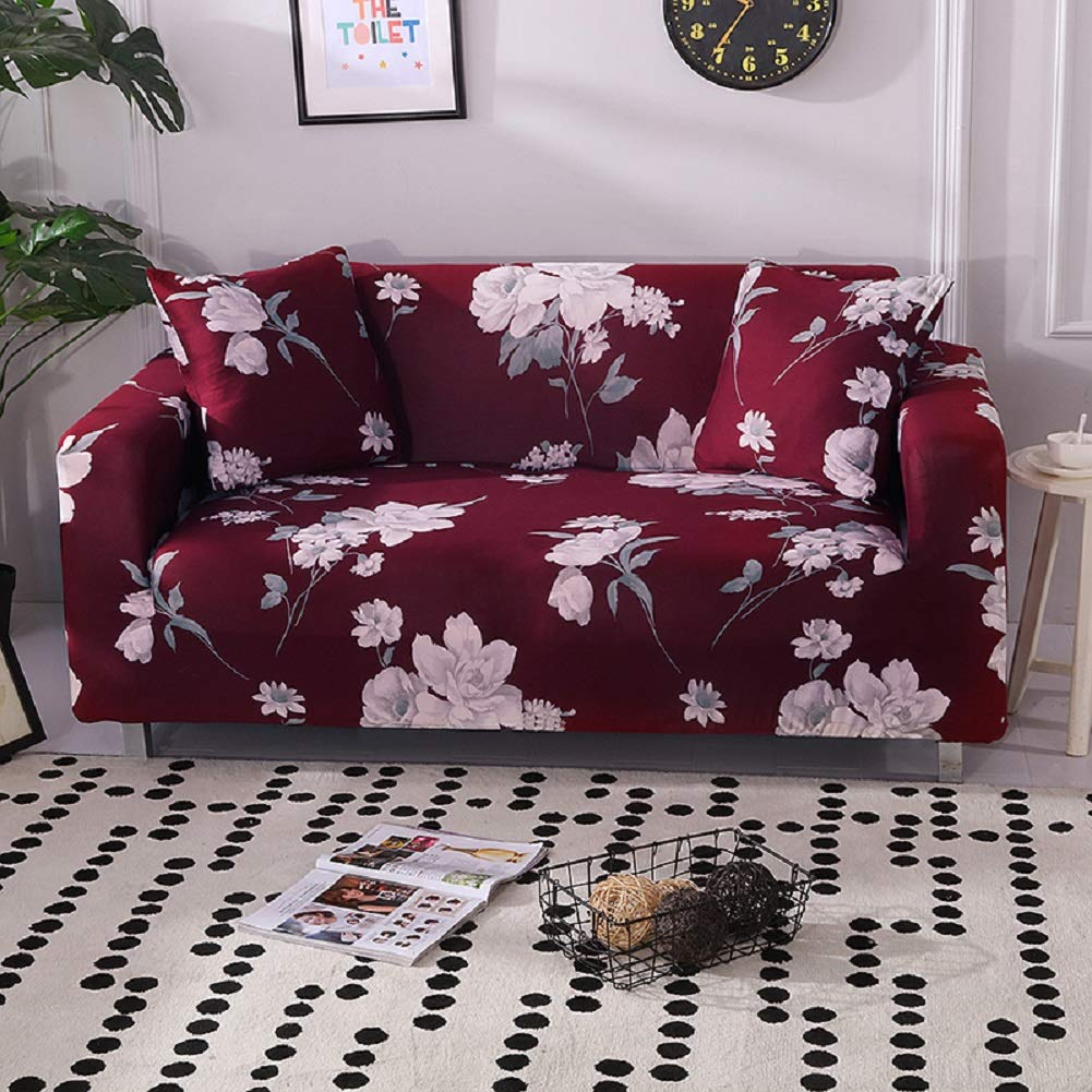 HOTNIU Stretch Sofa Cover 1-Piece Printed Couch Cover Sofa Slipcovers for Couches and Sofas Polyester Spandex Furniture Cover/Protector with Elastic ...