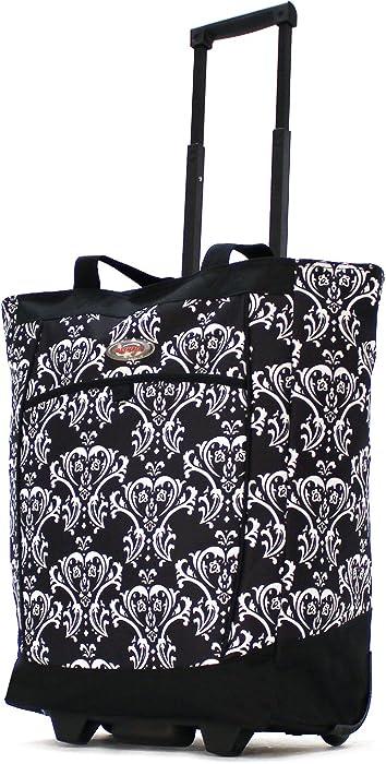 Olympia Fashion Rolling Shopper Tote - Damask Black, 2300 cu. in.