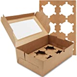 Farielyn-X 30 Packs Kraft Cupcake Boxes, Food Grade Kraft Bakery Boxes with Inserts and Display Windows Fits 6 Cupcakes or Mu