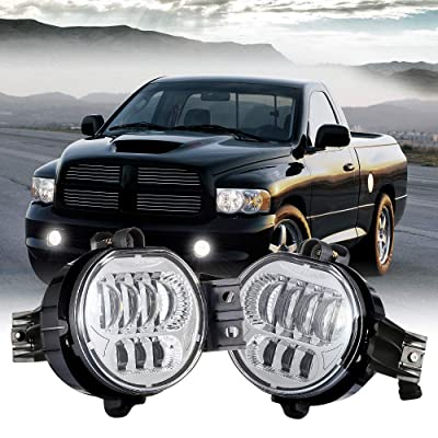 XPCTD Upgraded LED Fog Lights Passing Lamps For Dodge Ram 1500 2500/3500 2002 2003 2004 2005 2006 2007 2008 2009 Durango 2004-2006 Truck Chrome…: Automotive