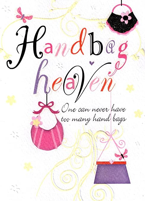 Amazon Handbag Heaven Birthday Card Glitter Flittered Greeting Cards Office Products