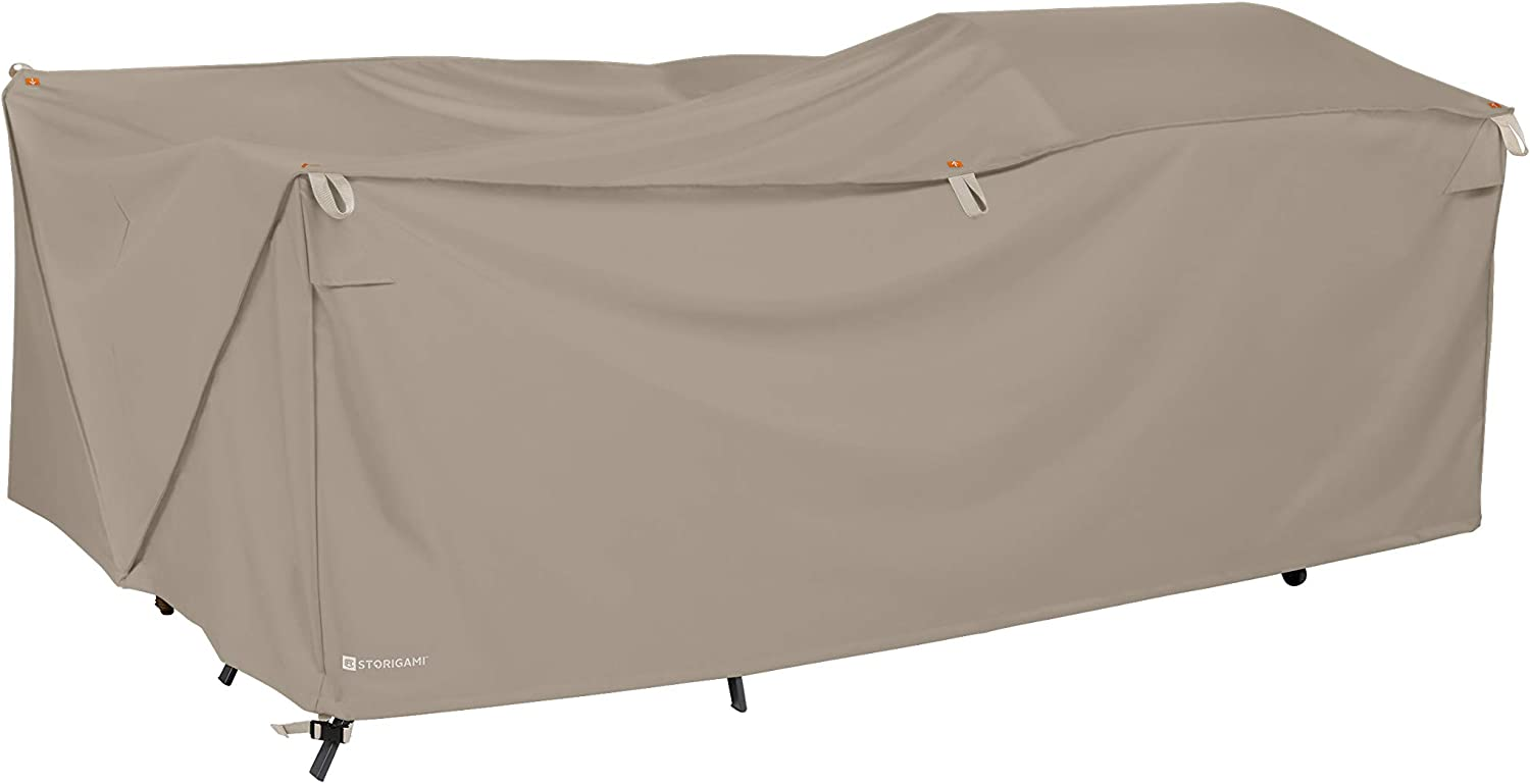 Classic Accessories Storigami Water-Resistant 140 Inch Easy Fold Patio Furniture Cover, Goat Tan