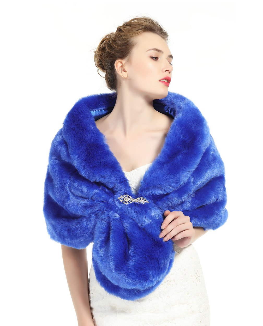 Faux Fur Shawl Wrap Stole Shrug Winter Bridal Wedding Cover Up Royal Blue Size M by MISSYDRESS (Image #1)