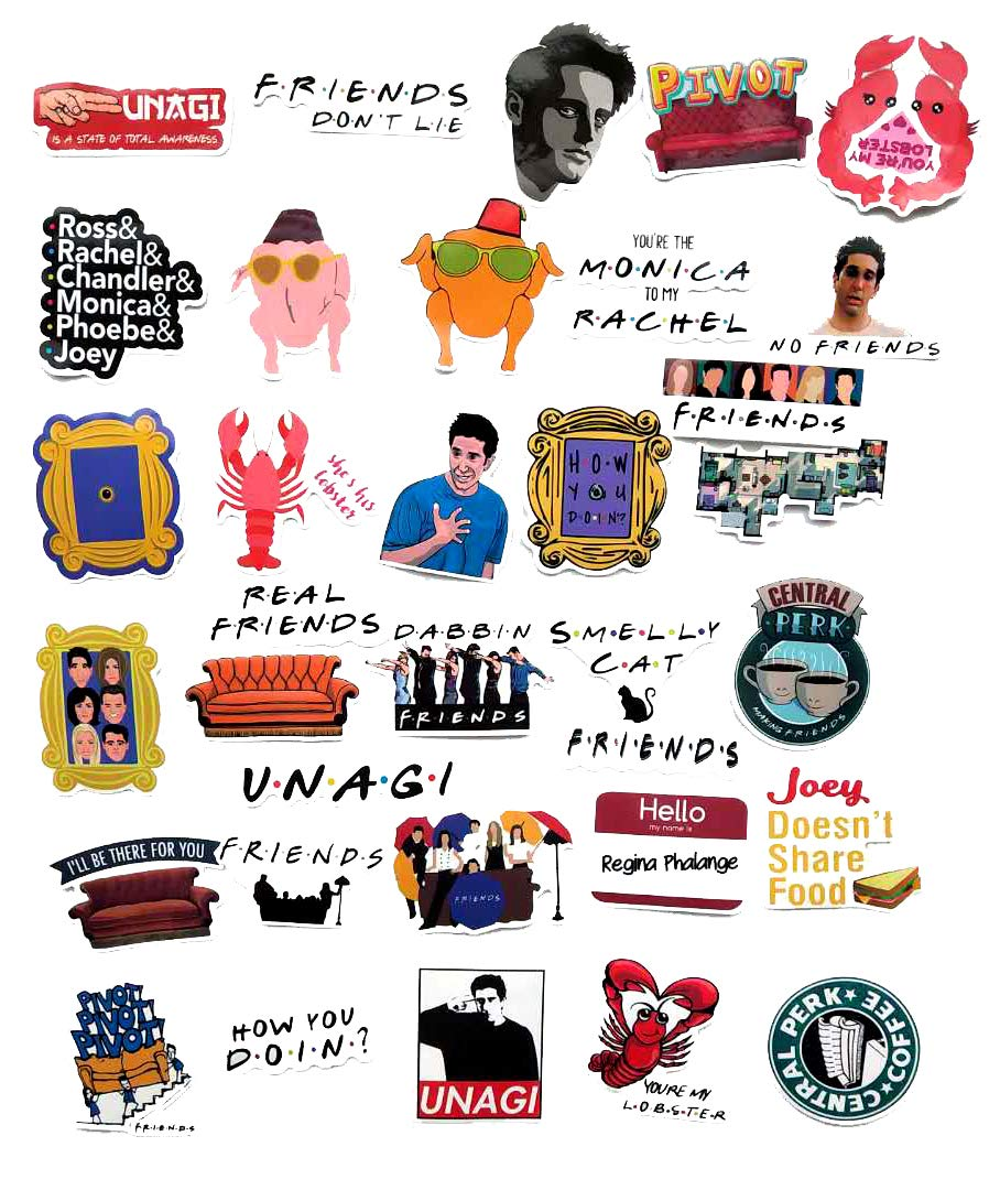 Stickers Calcos 34 un. Friends Tv Show (7RLJ14X4)
