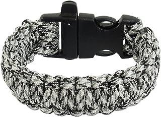 Plastic Buckle Whistle Cobra Weave Black White Nylon Survival Bracelet