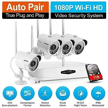 ANNKE 1080P WIFI NVR 4CH Kit de 4 Cámaras de Seguridad (HD CCTV IP P2P