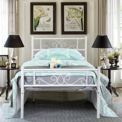 Amazon.com: SimLife Twin Size Metal Bed Frame with Headboard and ...