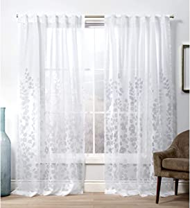 Exclusive Home Curtains Wilshire Hidden Tab Top Curtain Panel, 54x108, Winter White, 2 Panels