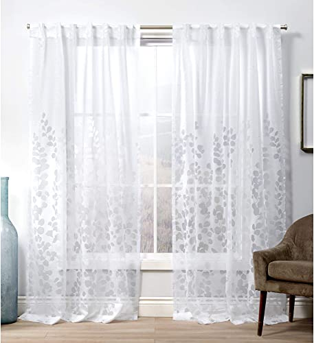 Exclusive Home Curtains Wilshire Hidden Tab Top Curtain Panel, 54×108, Winter White, 2 Panels