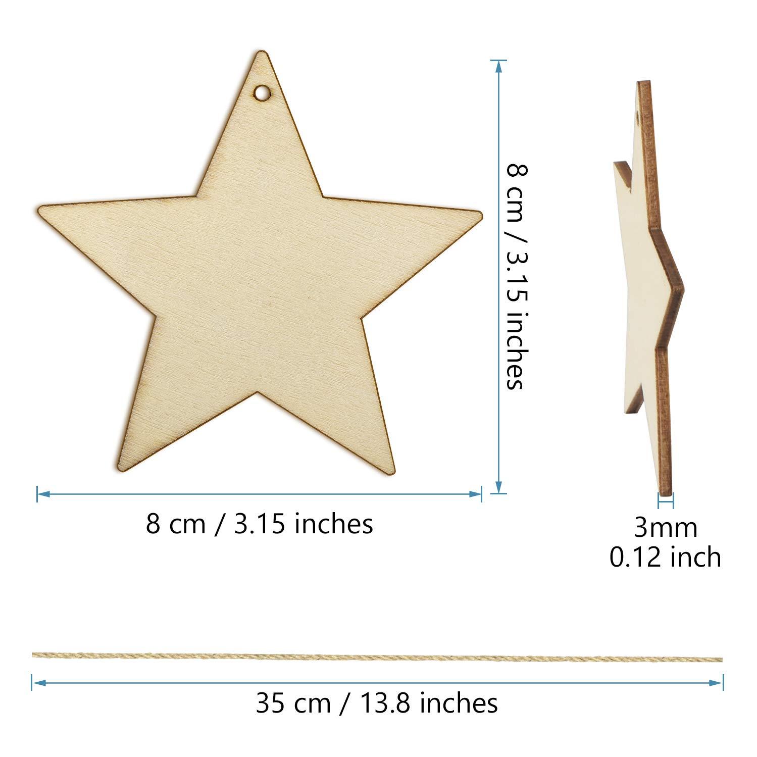 Estrellas Colgantes de Madera con 40pcs Cordeles para Adornos de Navidad MELLIEX 40 Piezas Adornos de Madera de Colgantes de Navidad para DIY